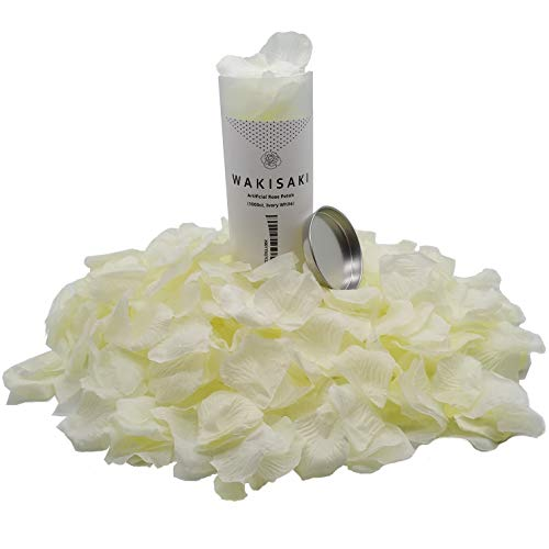 WAKISAKI (Separated, Pleasant-Smelling) Artificial Fake Rose Petals for Romantic Night, Wedding, Event, Party, Decoration, in Bulk (1000 Count, Ivory White)