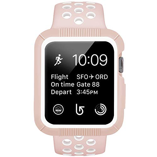 Watch Case Band, Shock-Proof Shatter-Resistant Protective Case Silicone Sport Replacement iWatch Band Compatible Apple Watch Series 3/2/1 Nike+ Sport 38mm S/M Vintage Rose/White ()