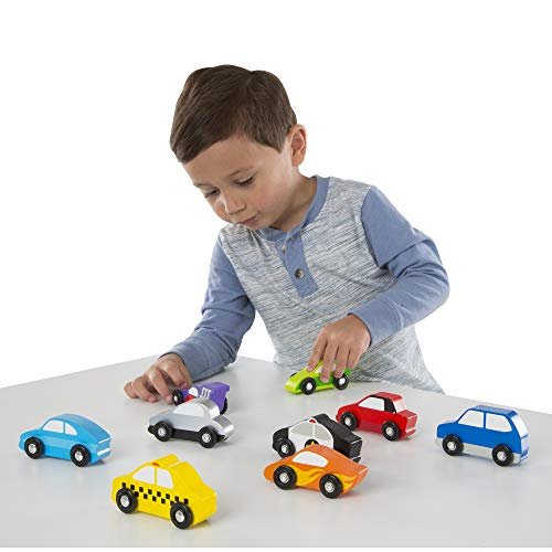 Melissa & Doug Wooden Cars Vehicle Set in Wooden Tray (9 Vehicle Toys, Great Gift for Girls and Boys - Best for 3, 4, 5, and 6 Year Olds)