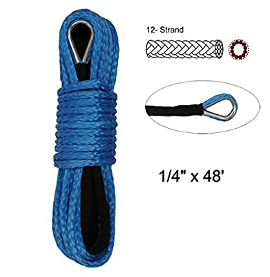 "Synthetic Winch Rope - 1/4"" x 48' Winch Cable Blue Winch Rope 7000+ LBs with Sheath for atvs Winches ATV UTV SUV Truck Boat Ramsey Synthetic Winch Rope (1/4""-7000LB+)"