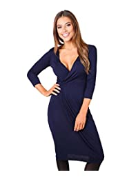 KRISP Womens 3/4 Sleeve Jersey Midi V Wrap Dress