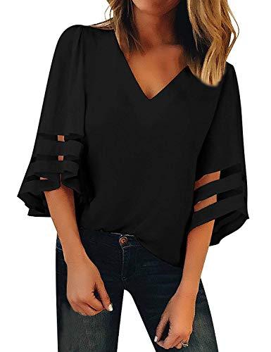 TECREW Women's Off Shoulder 3/4 Bell Sleeve Chiffon Blouse Tops Casual Mesh Panel T Shirts