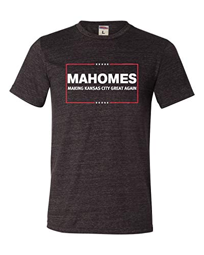 Go All Out Large Charcoal Adult Mahomes Making Kansas City Great Again Triblend T-Shirt