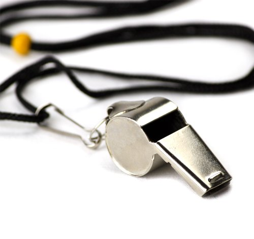 Crown Sporting Goods Stainless Steel Coach Whistle with Lanyard