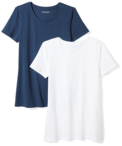 (Amazon Essentials Women's 2-Pack Short-Sleeve Crewneck T-Shirt, Navy/White, X-Large )