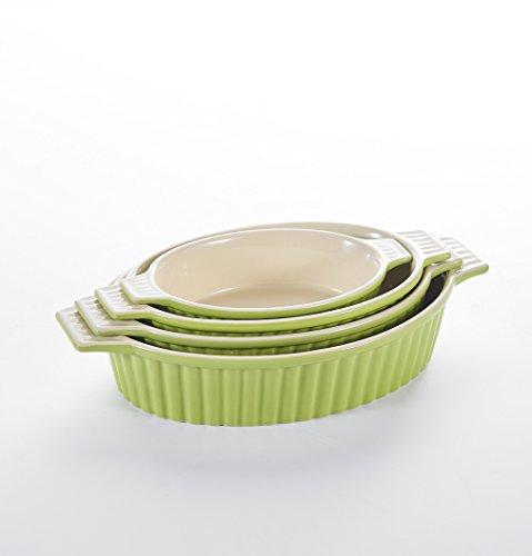 Malacasa 4 Piece Series Bake, Porcelain Bakeware Pans China Loaf Tin Tray Oven Dish Ceramic Baking Plates, 9