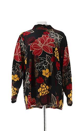 - Susan Graver Printed Liquid Knit Mock Neck Top Black Red XS New A297145