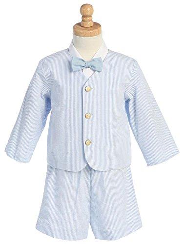 - Eton Seersucker Suit- Blue Stripes w/Jacket, Shorts, Shirt, Bowtie- - Made in USA