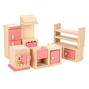 Arshiner Happy Family Doll Kitchen House Furniture Wooden Livingroom Set Kids Gift Pink