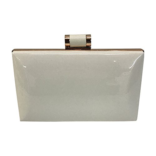 Women's Shiny Solid Patent Rectangular Box Clutch with Top Clasp (White Patent Bag)