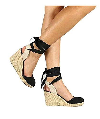 (PiePieBuy Womens Espadrille Wedges Ankle Strap Closed Toe Heeled Sandals (11 B(M) US, 2-Black))