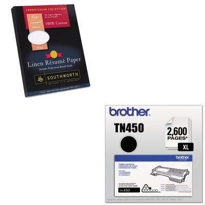KITBRTTN450SOURD18BCFLN - Value Kit - Southworth 100% Cotton Linen Resume Paper (SOURD18BCFLN) and Brother TN450 TN-450 High-Yield Toner (BRTTN450) (Resume Linen Southworth Paper)