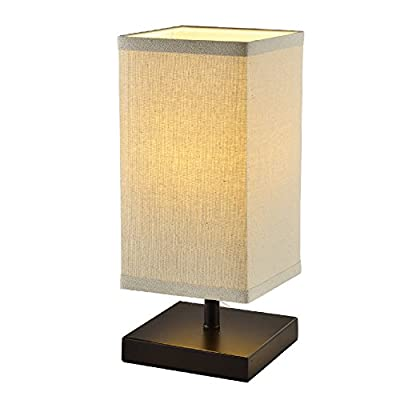 Mane Square Lantern Bedside Table Lamp - Stylish Minimally Designed 9W Table Lamp With Beige Lamp Shade - Bedside Table Lamp for Bedrooms, Living Rooms, Dorms, Coffee Tables, and Nightstands