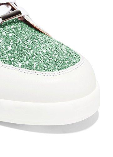 ZXD Mercury - Calzado para Shows Glitter Purpurina Y Cuero PU Suela de Goma PU Sin Logotipo Unisex Esmeralda