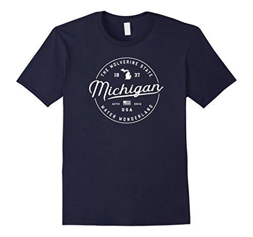 Mens Michigan T-Shirt, US State Travel Vacation Shirts MI USA Tee 2XL Navy