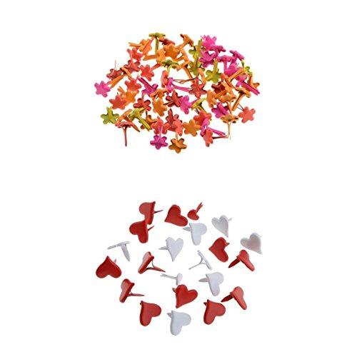 200 Piece Assorted Heart Flower Metal Brads Paper Fastener Decorative Brads for Scrapbooking Decoration ()