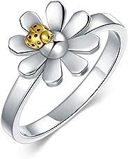 ROMANTICWORK Sterling Silver Flower Bee Toe Rings Cute Jewelry Birthday Gift for Women Teen
