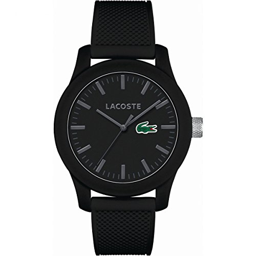 Lacoste Men's L.12.12 Black Silicone Strap Watch - Watchshop Uk