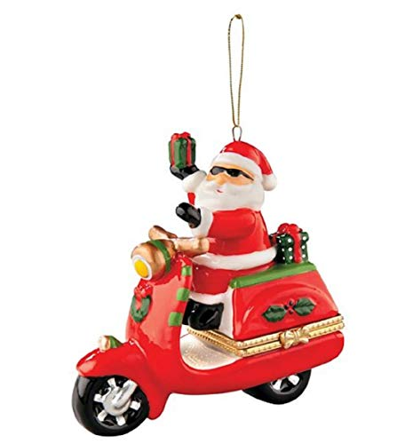 (FTH Porcelain Santa on a Moped Scooter Motorcycle Opening Ornament.Doubles as a Money,Check,Note,Jewelry,or Medication Holder.Opens in The Middle with Heart Closure)