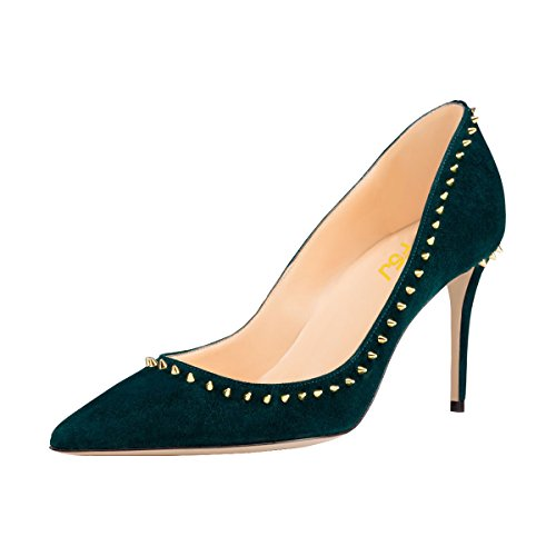 FSJ Women Faux Suede Stiletto High Heels Pumps Pointy Toe Rivets Studded Formal Shoes Size 8 Teal-8 cm