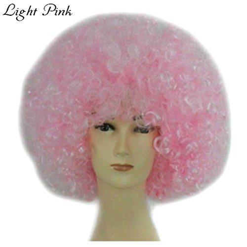 JOY DRAGON Afro Wigs ,Halloween,Christmas,Carnival,cheerleaders,Costume Party Wigs Curly Clown Disco Circus Costume Adult Children Dress Up(16 colours) (light pink)