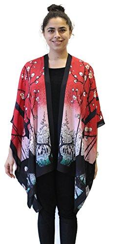 Cocoon House - Cocoon House Women's 100 Views of Edo Silk Long Kimono Jacket Oversized One Size Plus