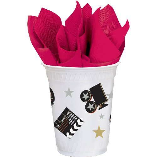 Star Studded Hollywood Themed Party Director's Cut Cups Tableware, Plastic, 14 Ounces, Pack of 8