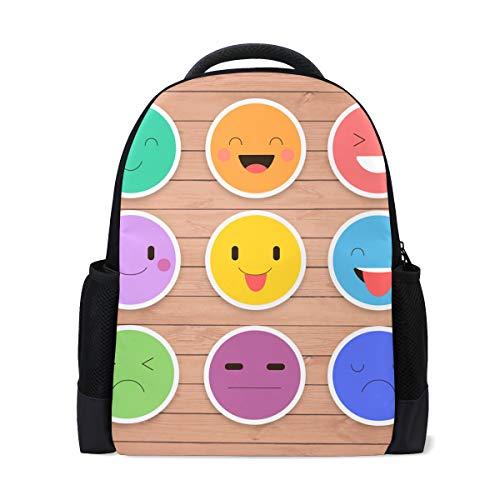 JERECY Funny Emoticon Emoji Casual Backpack Custom Office School Laptop Bag Travel Daypack -
