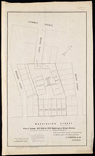 Historic Map | Plan of estate, nos 1043 to 1059 Washington Street, Boston, belonging to the heirs of the late William Brigham : to be sold by public auction | - Map Street Boston Washington