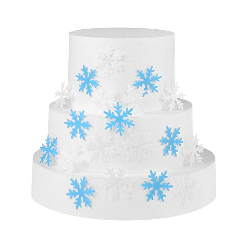 GEORLD Set of 48 Edible Snowflakes Cupcake & Cake Toppers Christmas Winter Party Decoration 2 Colors(White and Blue) -