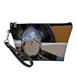 Airplane Decor Useful Cosmetic Bag,Propeller and Engine of Airplane Clouds Flight Historic Metal Oldwar Bird Transport Decorative for Travel,for Women Makeup Bags Pouch Purse Handbag Organizer