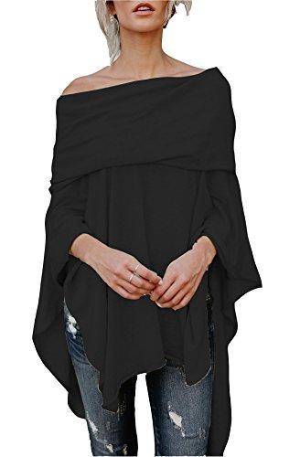 Asymetrical Tunic (FOXRED Womens Off Shoulder Irregular Hem Soft Knitted Poncho Sweater Pullovers (Small, Black))