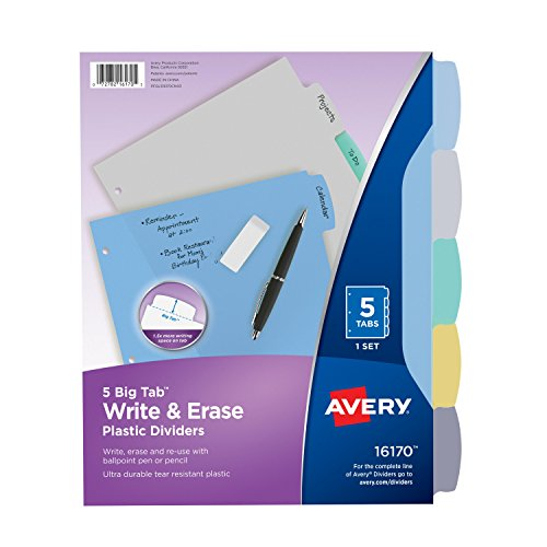 Avery Big Tab Write & Erase Durable Plastic Dividers, 5 Multicolor Tabs, 1 Set (16170) (5 Ring Tab Book)