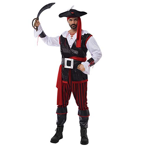 Spooktacular Creations Pirate Costume Men's Plundering Sea Captain Adult Set for Halloween Dress Up Party Costume (L) Red