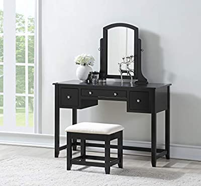 3-Piece Wood Make-Up Mirror Large Vanity Dresser Table and Stool Set, Black from eHomeProducts