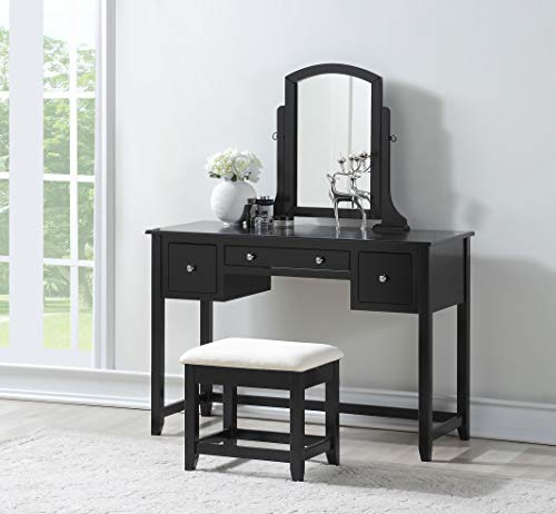 3-Piece Wood Make-Up Mirror Large Vanity Dresser Table and Stool Set, Black