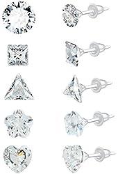 YAN & LEI Assorted CZ Rhinestone Ear Studs Set of 5 Pairs for Women Weekly Earrings