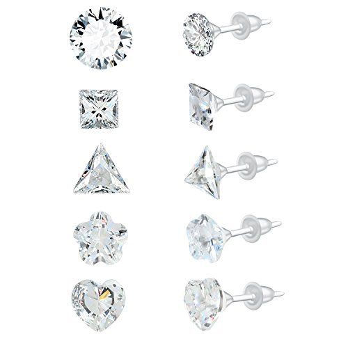 YAN & LEI AAA Sparkling Clear CZ Rhinestone Weekly Ear Studs Earrings Set of 5 Pairs Plastic Post Hypoallergenic