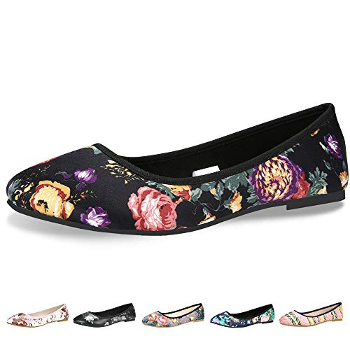 CINAK Floral Flats Shoes for Women Gift Classic Black Walking Comfortable Slip On Ballet Casual Round Toe Flats
