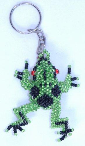 (Handmade Beaded Frog Keychain)