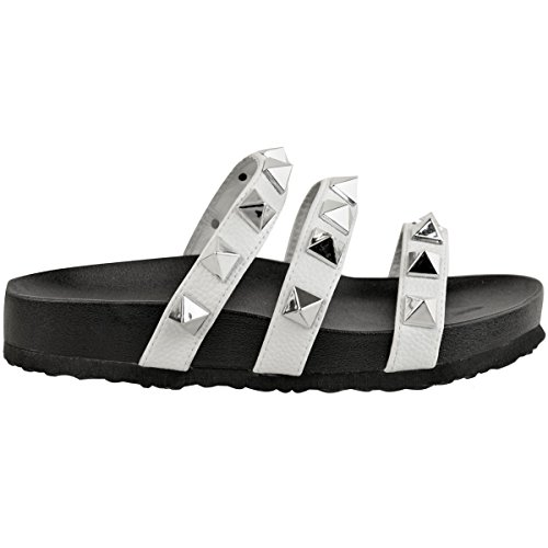 Shoes Faux Punk Leather Strappy Womens Flat New Size Embellished White Grunge Ladies Summer Sandals Bxf17zq