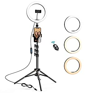Best Epic Trends 41dx-CC6V9L._SS300_ 10.2 inch Selfie Ring Light with Tripod Stand & 2 Phone Holders, LETSCOM Dimmable Led Beauty Camera Ringlight for Makeup…