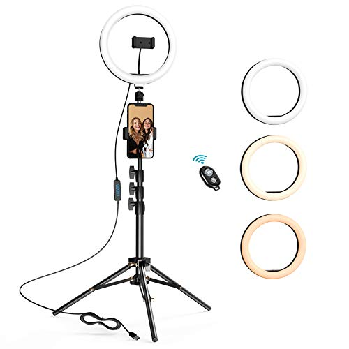 10.2 inch Selfie Ring Light with Tripod Stand & 2 Phone Holders, LETSCOM Dimmable Led Beauty Camera Ringlight for Makeup…