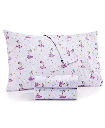 Kidzone Dancing Ballerina Beauty Light Purple Girl's Bed Sheet Set Twin