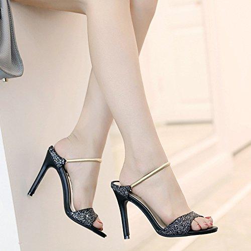 Sandales Poisson Noir Bouche La Mode Femme De rZq0r