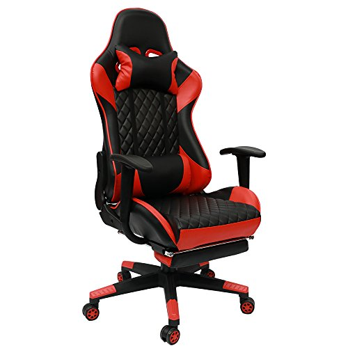 Insoria Ergonomic Gaming Chair High back Swivel Computer Office Chair Adjusting Headrest and Lumbar Support Recliner Napping Chair with Footrest (Red) For Sale