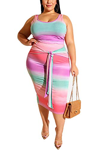 Women Plus Size Sexy 2 Piece Outfits Clubwear Sleeveless Tie Dye Stripe Printed Tank Crop Top Midi Skirt Set Slim Bodycon Pencil Dress Tie Front Party Club Dresses Work Office Pink, XXX-Large (Matching Crop Top And Pencil Skirt Set)