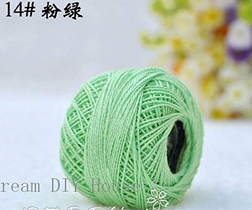 Maslin 10 Rolls Light Green Color 9s/2 100% Cotton Stitch Embroidery Thread Crochet Thread Hand Cross Embroidery Thread