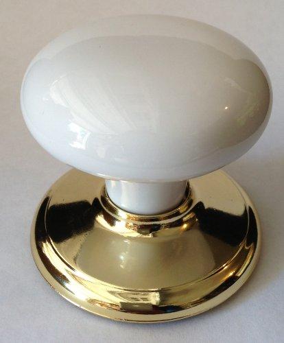 Gainsborough Dummy Wardrobe Closet Door Knob (White Porcelain & Polished Brass)