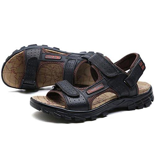 GAOLIXIA Sandalias respirables de cuero real de los hombres Zapatos ocasionales de los deportes de verano Zapatos de playa al aire libre Zapatos corrientes ligeros Zapatos de senderismo ( Color : Negro , tamaño : 44 )